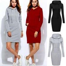New Autumn Winter Woman Dress Vestidos Warm Sweatshirt Long-sleeved Dress Hot Wo