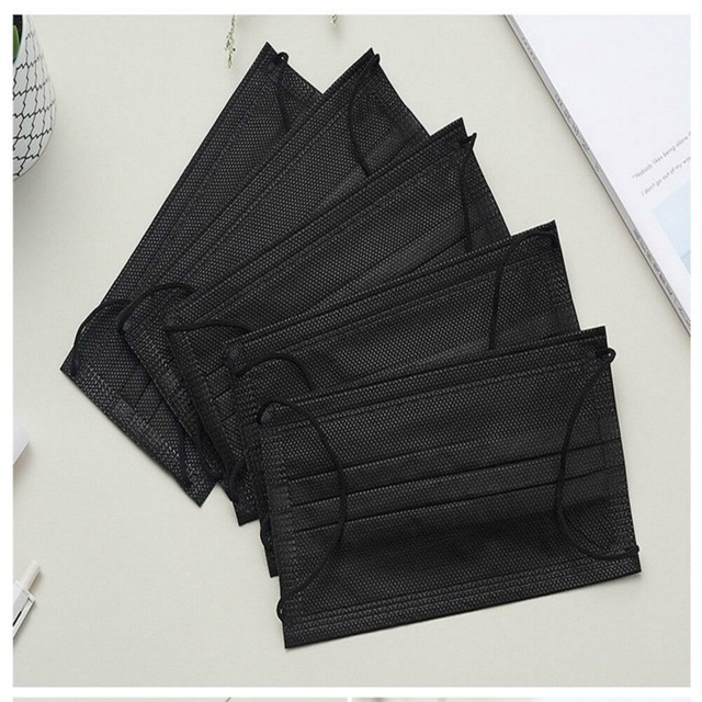 5pcs-100pcs High-quality Non-Woven Fabric Meltblown Cloth Adult Disposable Black Mask Filter Face Mask Black Masks 3