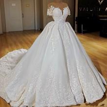 Luxury Satin Ball Gown Wedding Dresses Cap Sleeves Sheer Neck Lace Appliqued Wedding Dress Bridal Gowns vestido de noiva стоимость