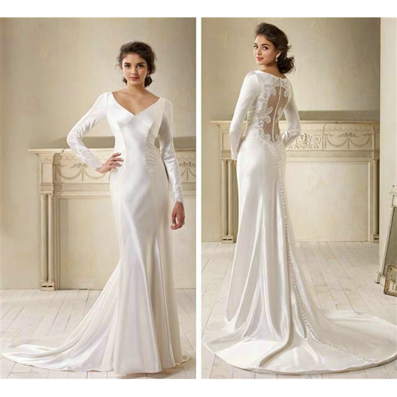 Sexy Mermaid V Neckline The Twilight Saga Bridal Gown Zipper Back Covered Buttons Court Train 2018 Mother Of The Bride Dresses