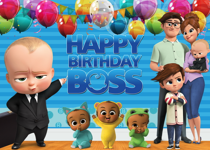 Little Men Boss Baby Birthday Party Backdrop for Photo Studio Blue Theme Balloons Flag Photography Backgrounds 7x5FT Vinyl