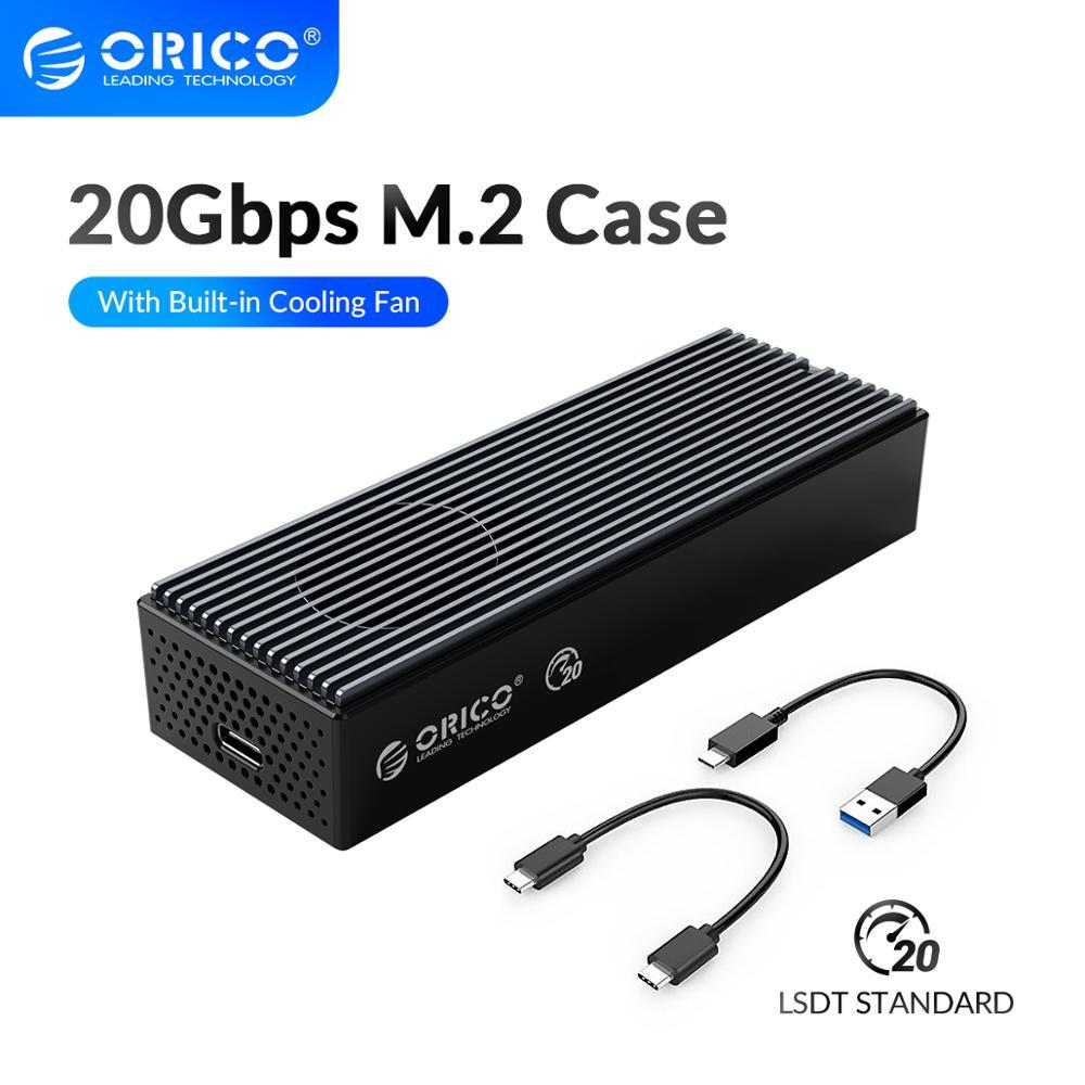 ORICO LSDT 20 Гбит/с M.2 NVME SSD Чехол со встроенной Вентилятор охлаждения Тип-C M2 NVME SSD HDD корпус для M.2 NVME 2230 2242 2260 2280 SSD