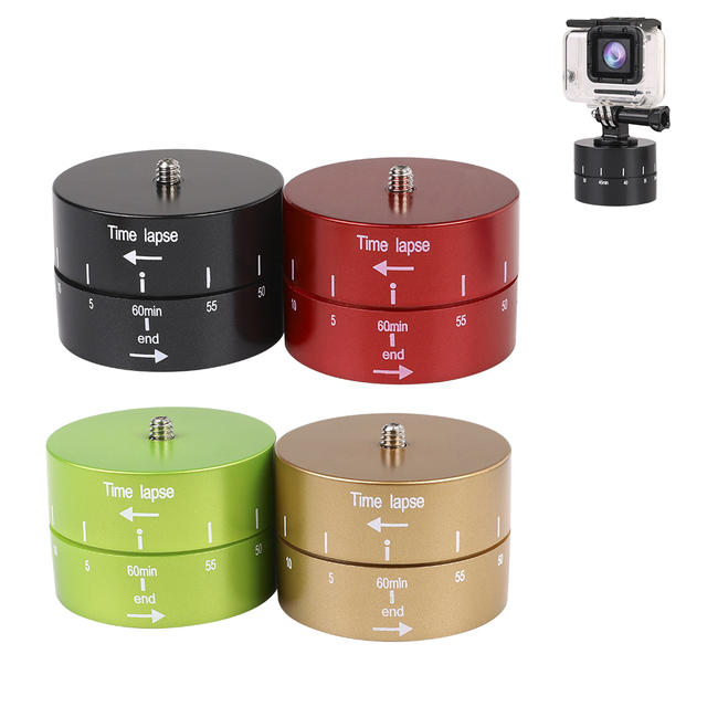 60min Time Lapse 360 degree Rotating Automatic Timer Tripod Head Photography Delay Tilt Head for GoPro7 6 5 DJI OSMO Action Sj9