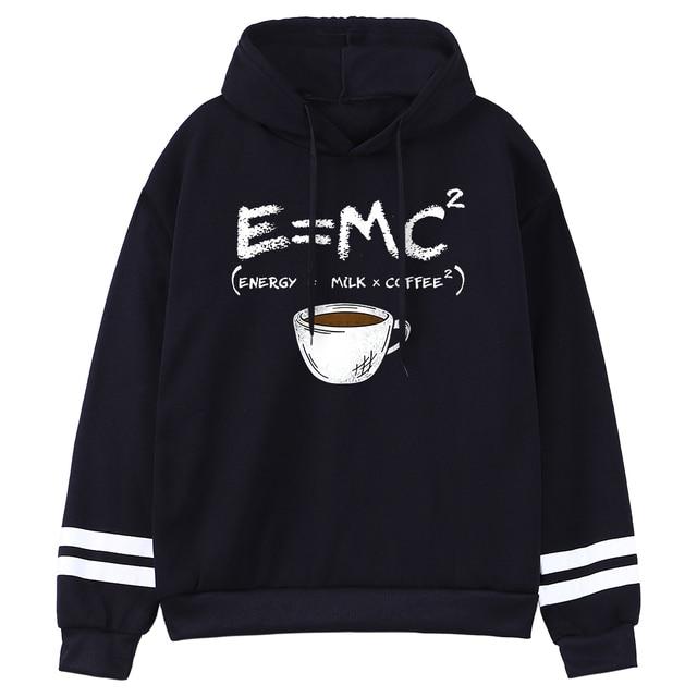 Hoodies E=Mc Coffee Personality Print Hoody For Women Harajuku Aesthetic Hoodie Warm Womens Fleece Oversized Sweatshirt Female 1