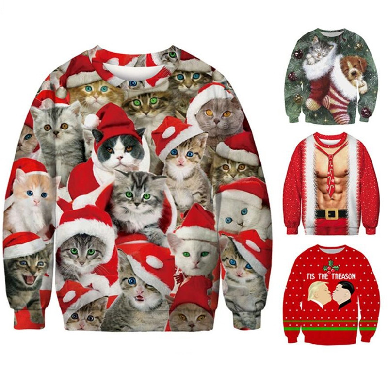 Ugly Christmas Sweaters Jumpers Tops New Funny 3D Print Cat Sweater Men Women 2019 Holiday Party Pullover Hoodie Sweatshirt