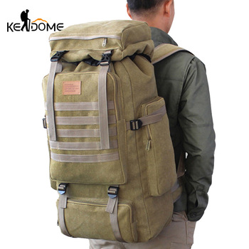 60L Large Military Bag Canvas Backpack Tactical Bags Camping Hiking Rucksack Army Mochila Tactica Travel Molle Men Outdoor XA84D