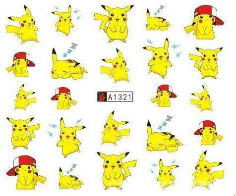 Etiqueta da arte do prego água decalques unhas tatuagem slider desenhos animados anime pikachu adorável projetos decoração manicure pegatina folha envoltórios