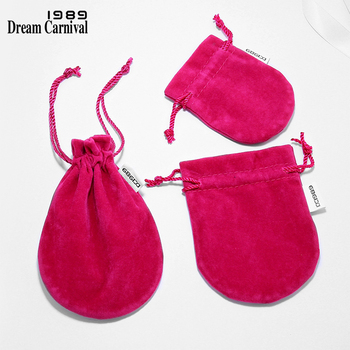 DreamCarnival 1989 New Fuchsia Color Gift Packaging for Jewelry Ring Earring Bracelet Necklace Velvet Drawstring Pouch Wholesale