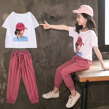 Summer Girls Clothing Suit Baby Kids Girl T-Shirt & Pants Sets 2Pcs Children Clothes Casual Tracksuit 4 5 6 7 8 9 11 12 years clothing sets children baby 2pcs clothes girls summer t shirts dress 2pcs girls clothes for age 2 3 4 5 6 years kids sport suit
