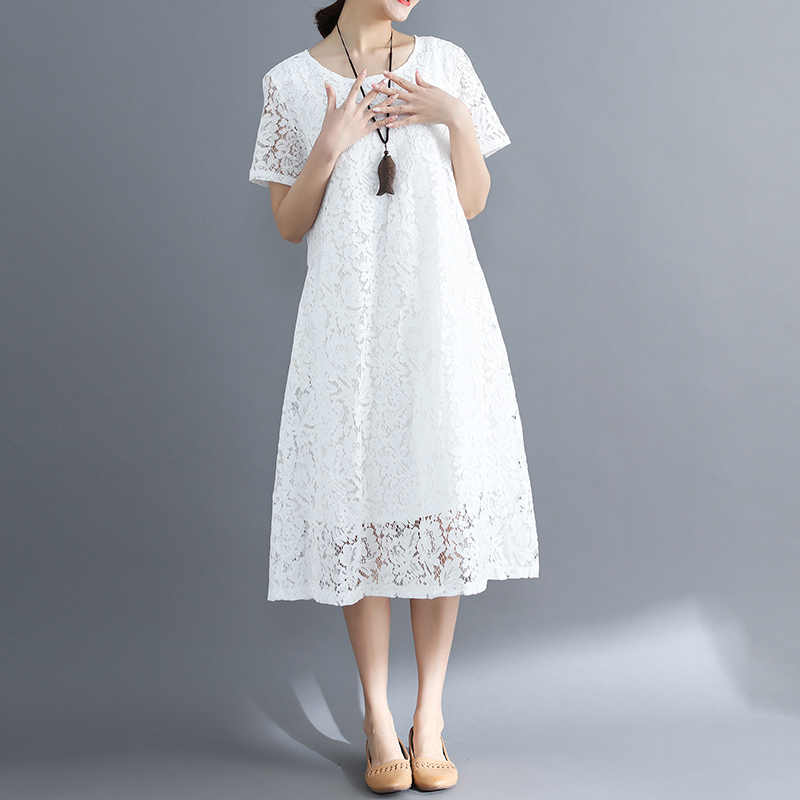 לבן 2020 תחרה קיץ שמלת שחור חוף קוריאני מסיבת שמלות לנשים גדול גודל אלגנטי Vestido Mujer KJ1092