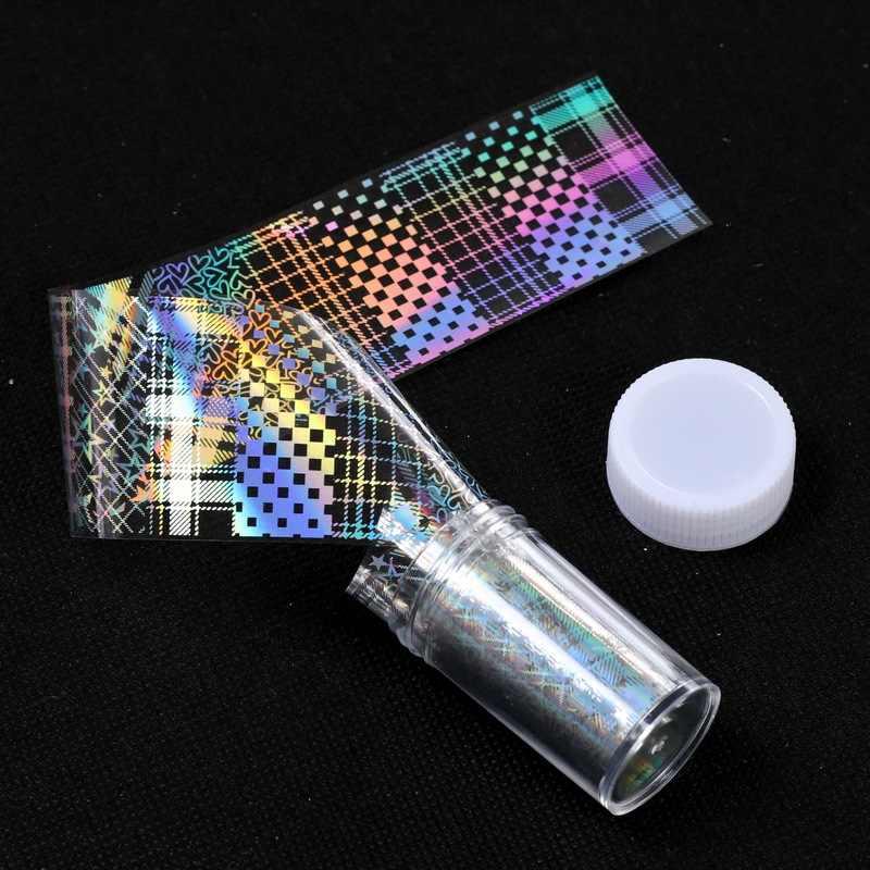 1 adet holografik yangın alev tırnak çıkartmalar 3D Glitter lazer Flames Nail Art folyo transferi Sticker çıkartması süslemeleri 4x100cm