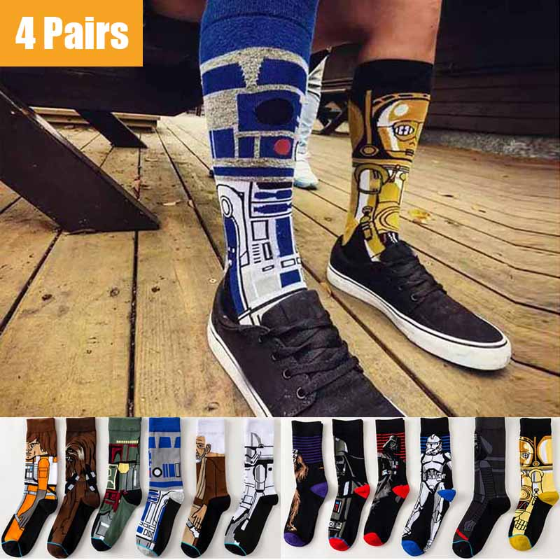 4 Pairs Star Wars Movie Cotton Long socks Master Yoda R2-D2 Cosplay Socks Wookiee Jedi Knight Novelty Men's Women's Socks