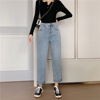 New Fashion Woman Jeans Boyfriend Style Light Blue High Waist Cuffs Denim Pant for Woman Loose Chic Casual Jean Female 2020 фото
