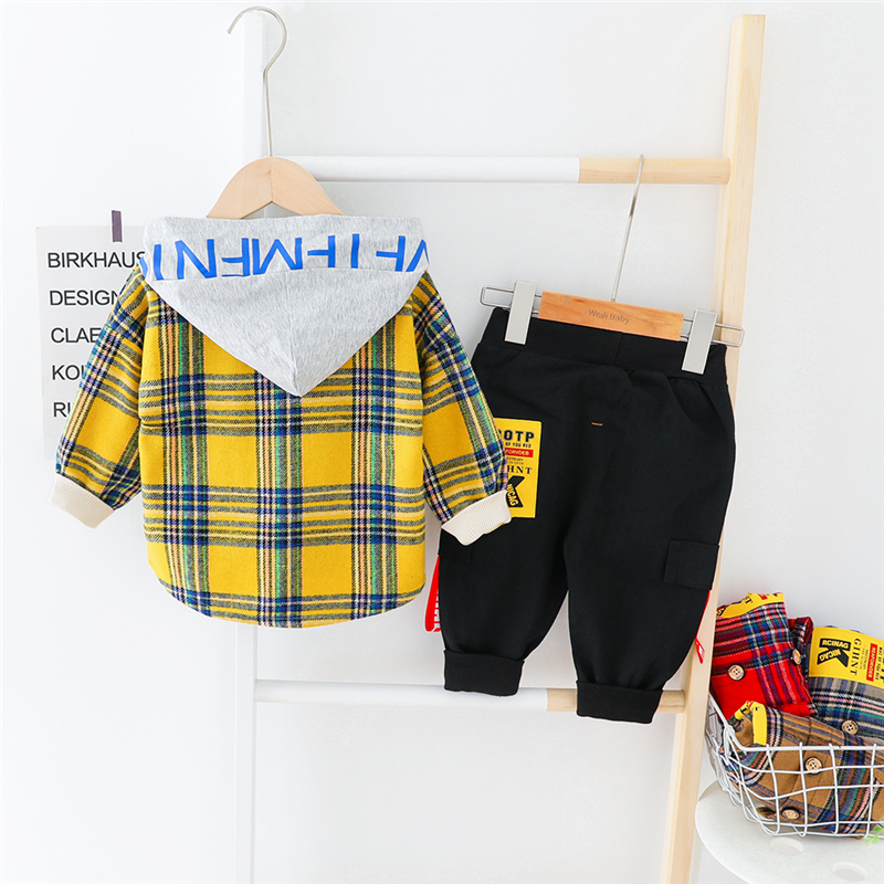 HYLKIDHUOSE 2020 Spring Baby Boys Clothing Sets Hooded Plaid Tops Pants Toddler Infant Casual Clothes Children Kids Costume