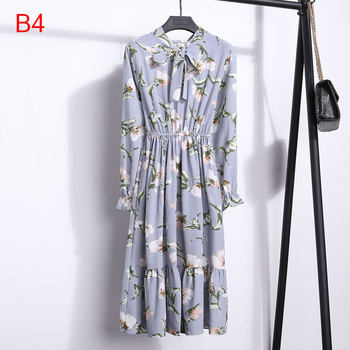 Women Dress Long sleeves Flower Print Boho Style  6
