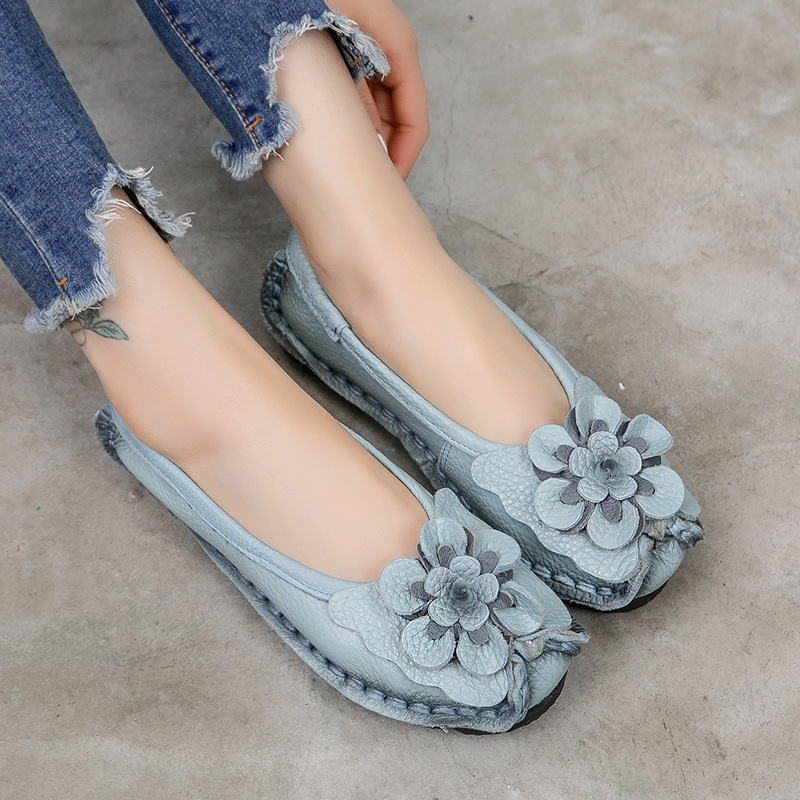 Women Shoes 2020 Handmade Ethnic Women Flats Genuine   Leather   Shoes Flat Flower Moccasins Soft Bottom Loafers Slip On Ladies Shoe