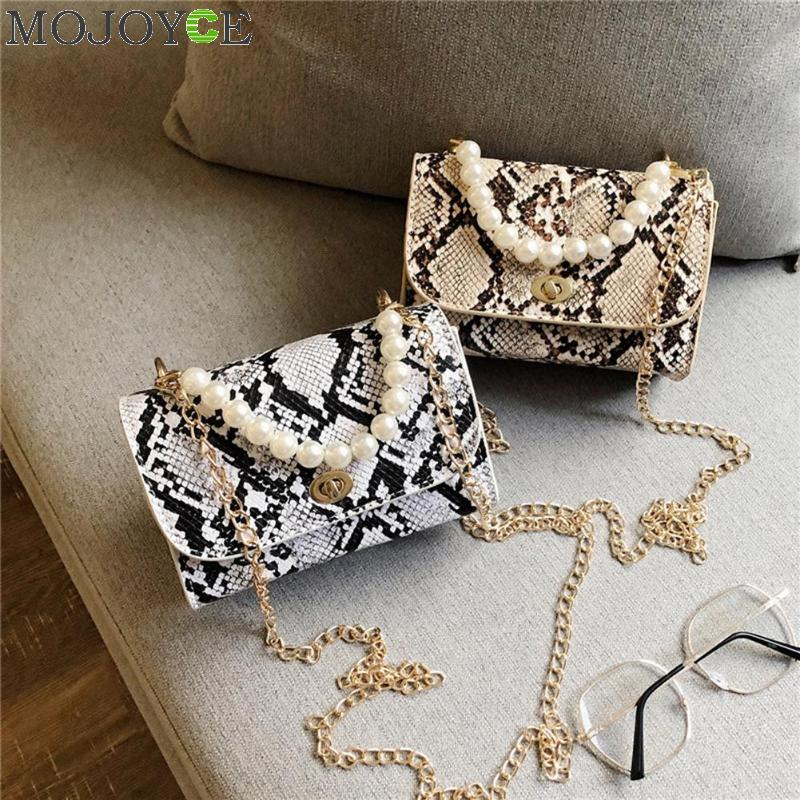 Fashion Ladies Pearls Decor Snake Print Bags For Women 2019 Shoulder Messenger Handbags Casual PU Leather Chain Crossbody Bags