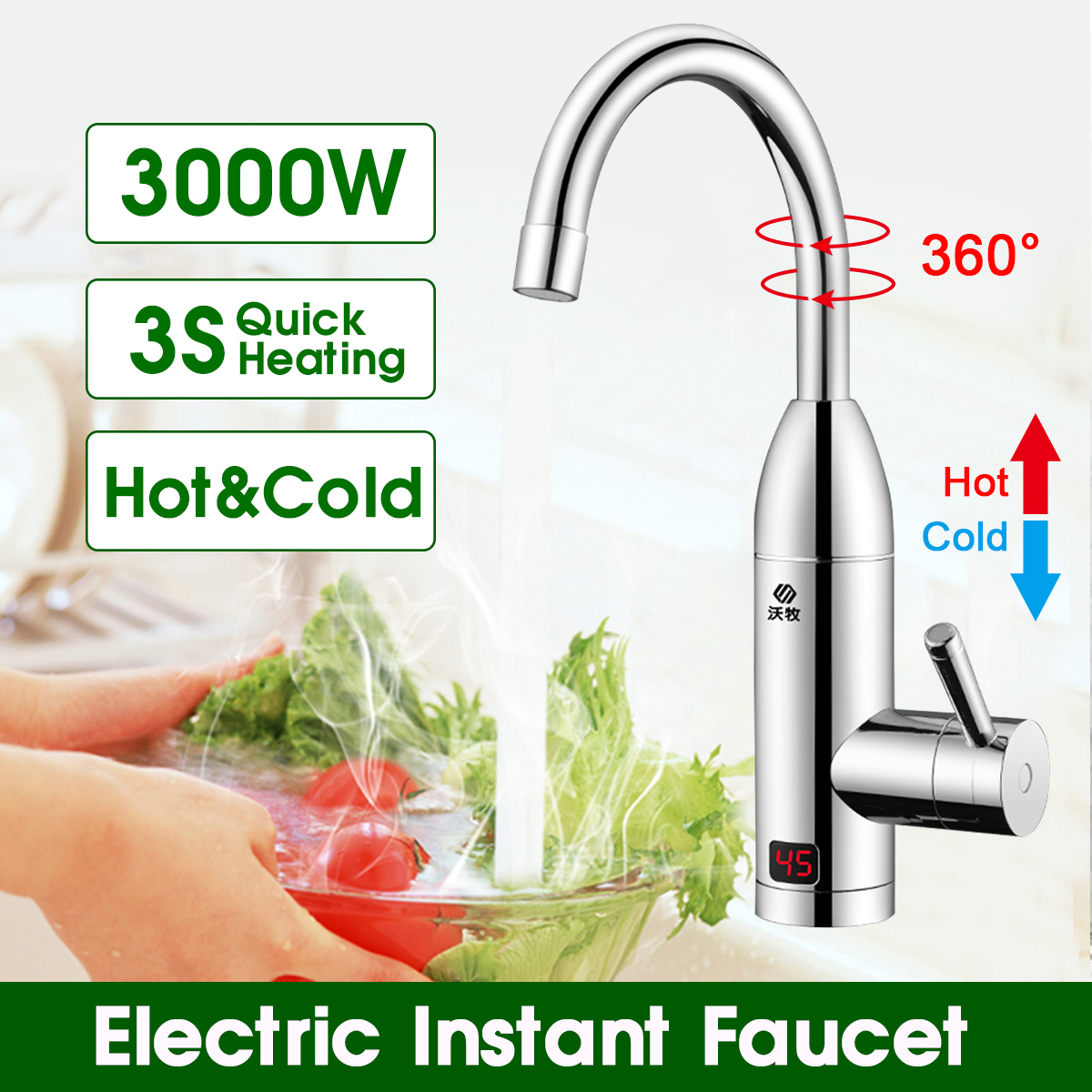 Instant Hot Water Heater Tap Fast Instantaneous Thermostat For Water Heater 3000w Electrical Faucet Temperature Display Boiler