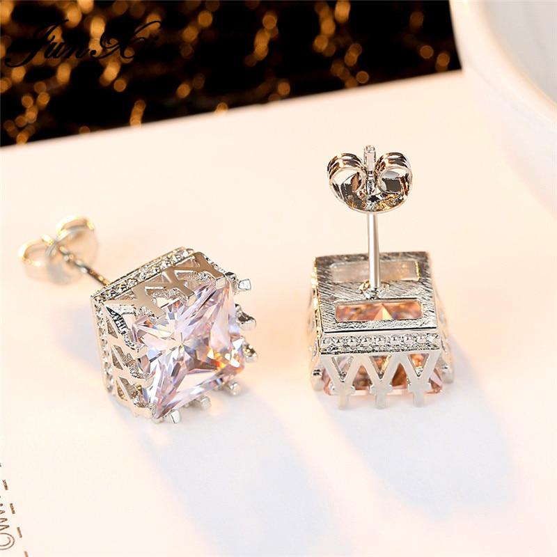 Cute Princess Square Stud Earrings Silver Color White Zircon Stone Double Earrings For Women Geometric Earring Vintage Jewelry