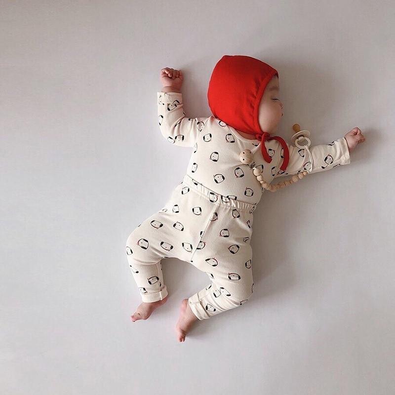 MILANCEL  Baby Sleep Set Cute Doggy Print Infant Girls Boys Sleep Wear Cotton Baby Clothing With Hat
