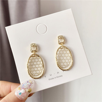 Han Edition Pineapple Metal Mesh Earrings Geometrical Irregular Simple Stud earrings Punk Dangling Eardrop Wedding Jewelry image