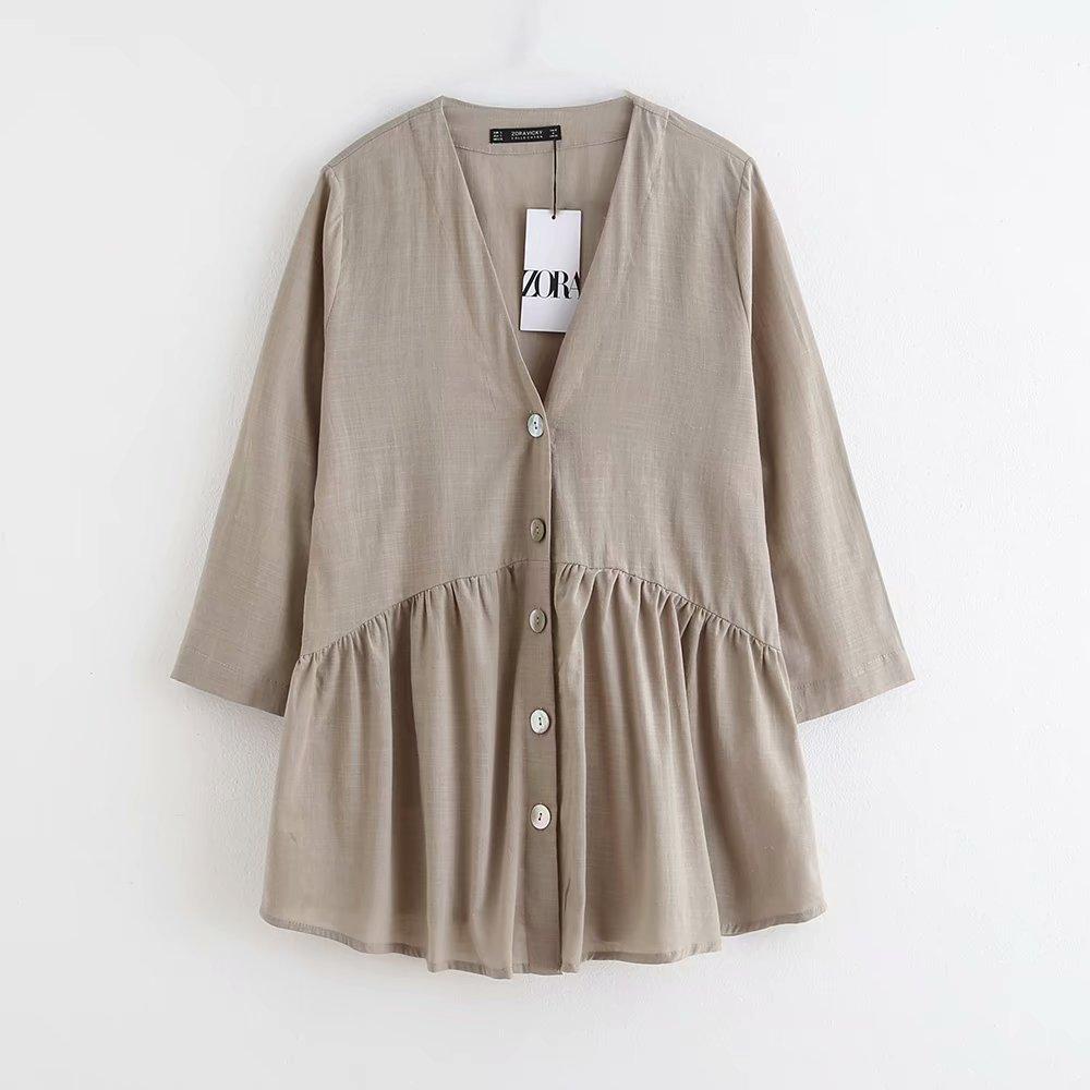 women vintage V neck buttons pleats casual smock Shirts blouses office lady nine sleeve linen roupas femininas blusa tops LS4518