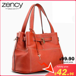 Zency 100% Soft Genuine Leather Elegant Women Shoulder Tote Bag Charm Orange Fashion Messenger Crossbody Purse With Lock Handbag(China)