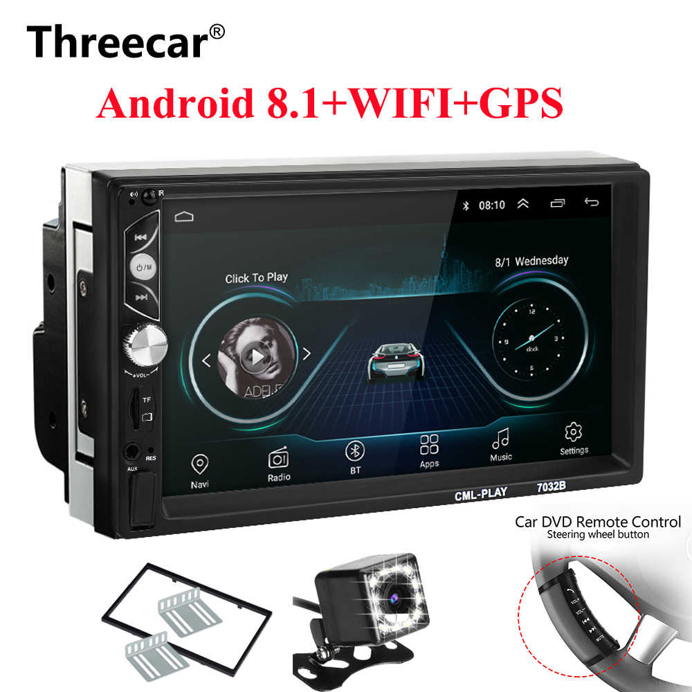2 Din Android 8.1 Car radio Universal 7 inch HD Touch GPS Navigation Wifi Bluetooth Autoradio MirrorLink Multimedia DVD Player