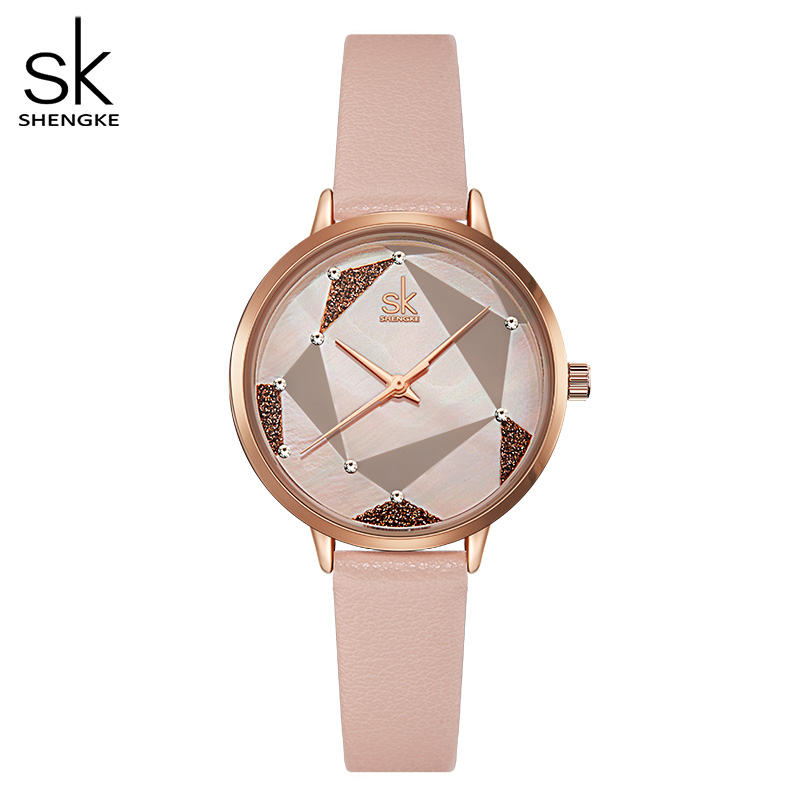 Shengke 2019 Ladies Wrist Watches Dress Casual White Women Watches Montre Femme Leather Pink Clock Japanese Quartz Women Gift