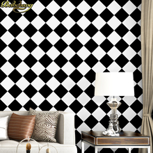 цены Waterproof black and white square checkered wallpaper salon shop clothing store restaurant checkout KTV background wallpaper