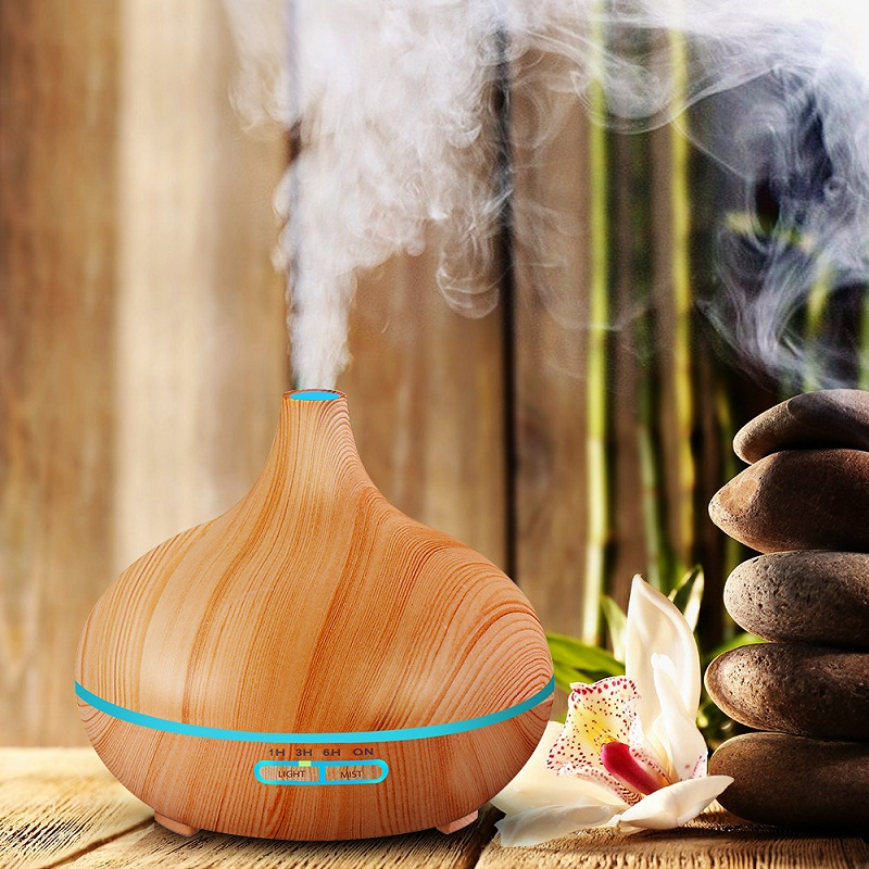400 ML Ultrasonic Humidifier Usb Aroma Diffuser Air Essential Oil Atomizer Wood Grain Humidifier Seven Color LED Lamp Home