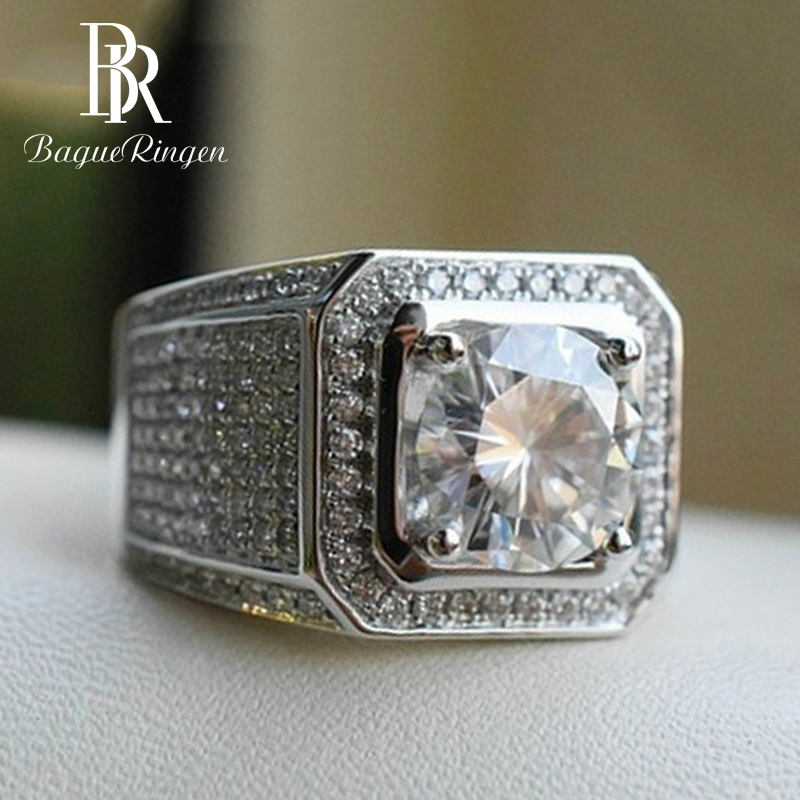 Bague Ringen  New Arrivals 925 Sterling Silver Zircone Square  Rings For Domineering Men Lover Wedding Engagement Gift Jewelry