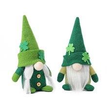 New Rudolf Doll Irish Trick Festival Green Hat Doll Faceless Old Man Green Leaf Holiday Decorations