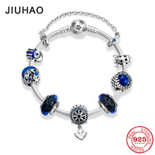 power of faith New 925 Sterling Silver Anchor charms Bracelet blue Glass Beads Dazzling Clear CZ Round Chain for Women Jewelry