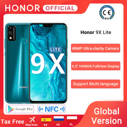 Versão global honra 9x lite smartphone 4g 128g 48mp câmera kirin 710 6.5 'turbo telefone móvel android p gpu turbo 3.0 nfc