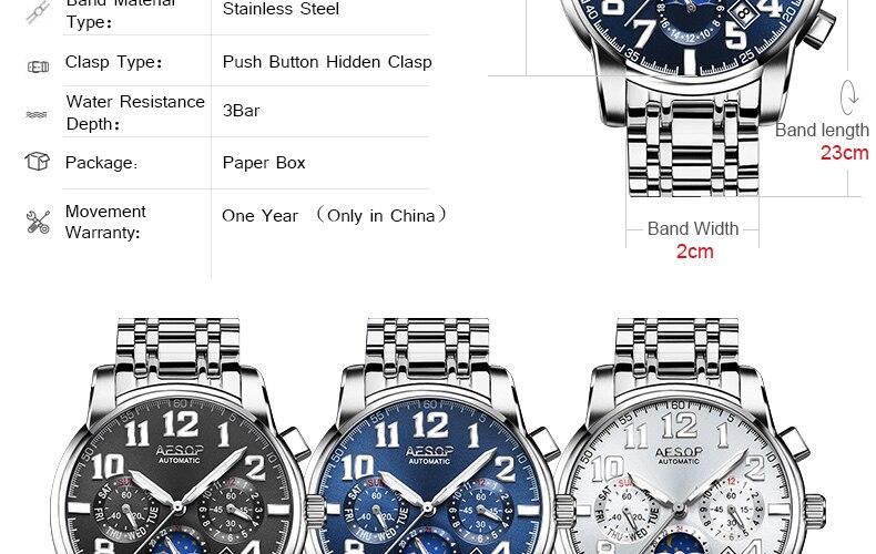 H2a3c5b15858d4eb1a6772506d7879682c AESOP Luminous Automatic Mechanical Watch Men Luxury Brand Business Waterproof Stainless Steel Male Clock Relogio Masculino 2019