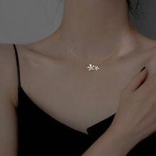 Mode fleur pendentif collier pour femmes exquis pendentif collier pour fille argent plaqué bijoux clavicule chaîne
