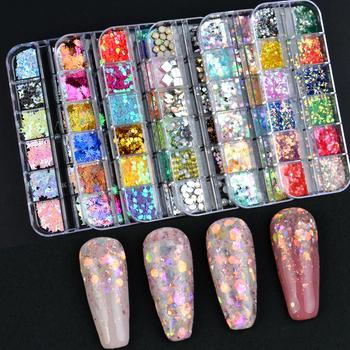 12 Grids Charm 3D Nail Flakes Butterfly Shape Laser Glitter Sequins Holographic Nail Art Decorations Manicure DIY Tips 6boxes set laser mixed nail glitter powder sequins shinning colorful nail flakes 3d diy charm dust for nail art decorations