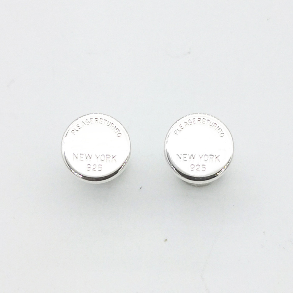 Women's Sterling Silver Classic Silver Round Engraved Alphabet Stud Earrings Round Sterling Silver Women's Stud Earrings