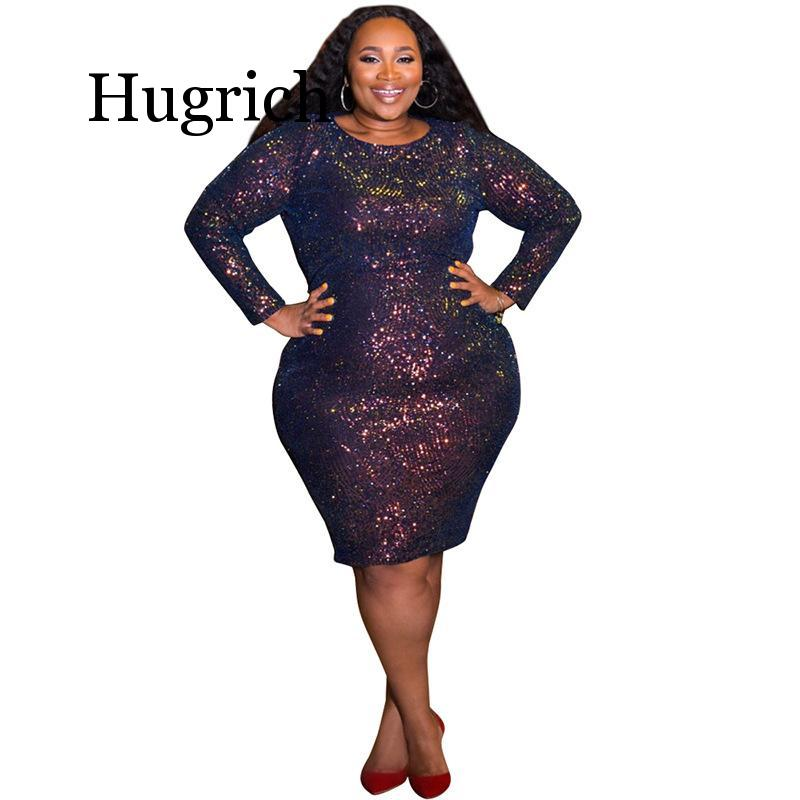 Glitter Dress Plus Size Women Long Sleeve Sequin Dress Oversized Large Big Size 5xl Sexy Clubwear Club Party Bling Bling Dresses