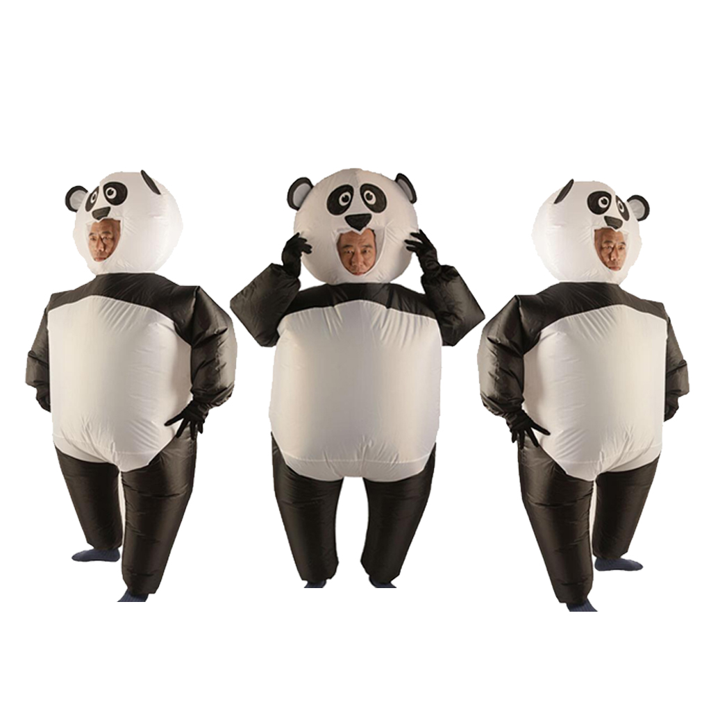 Pack Of 3 Adult Inflatable Costume Panda Suit With Gloves Masquerade Cosplay Party Fat Clothes