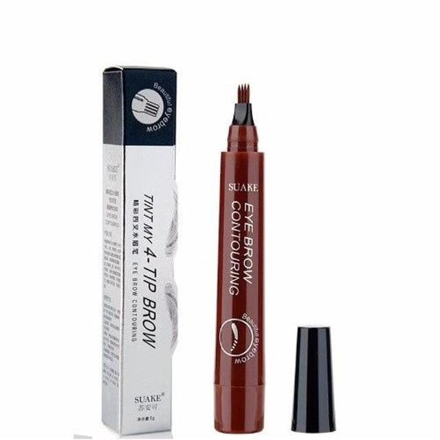 Makeup Fine Sketch Liquid Eyebrow Pen Waterproof Brow 4 Fork Tip Cosmetic Art Tint Eye Brow Pencil Microblading Tattoo Eyebrows 1