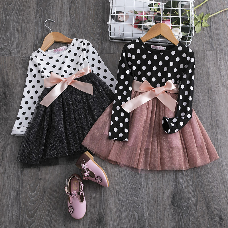 Toddler Baby Girls Long Sleeve Dress Princess Party Prom Plaid Bowknot Dress AB