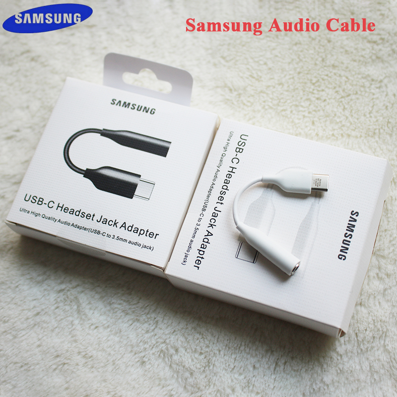 Оригинальный аудиокабель для наушников Samung с USB C на 3,5 мм AUX адаптер для гарнитуры для SAMSUNG Galaxy S20 + Note 10 + A90 A80 A8s A60 S10 S9