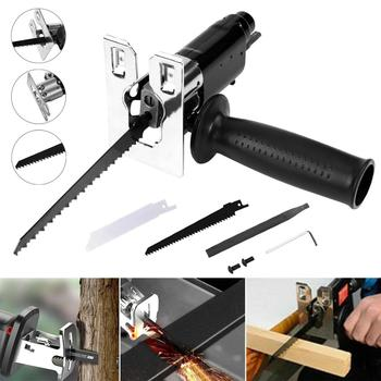 Reciprocating Saw Attachment  Change Electric Drill Into Reciprocating Saw Jig Saw Metal File  for Wood Metal Cutting portable rechargeable reciprocating saw wood cutting saw 20v 3000mah electric wood metal plastic saw