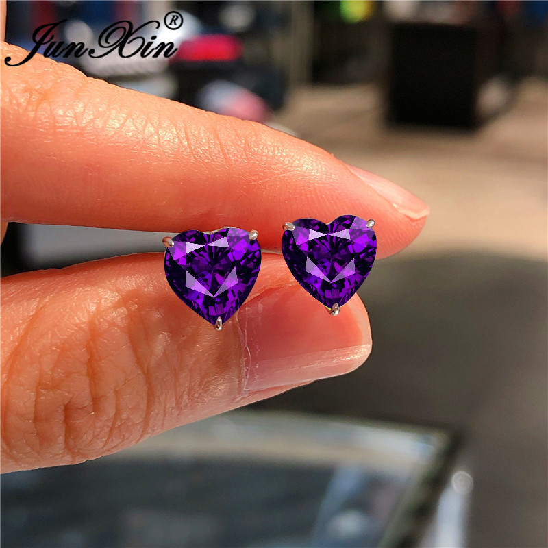 Charm Purple Zircon Small Heart Stud Earrings For Women Red Pink Crystal Bridal Wedding Ear Studs Valentine Jewelry Gift
