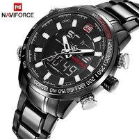 Naviforce marca de luxo masculino militar relógios do esporte dos homens relógio de quartzo digital aço completo à prova dwaterproof água relógio de pulso relogio masculino