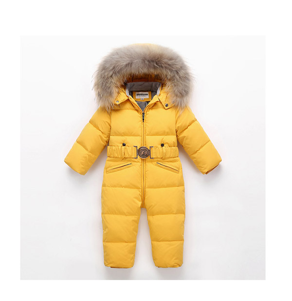Children's jumpsuit down climbing suit boys girls winter skiing suit thick real fur collar -30 degrees