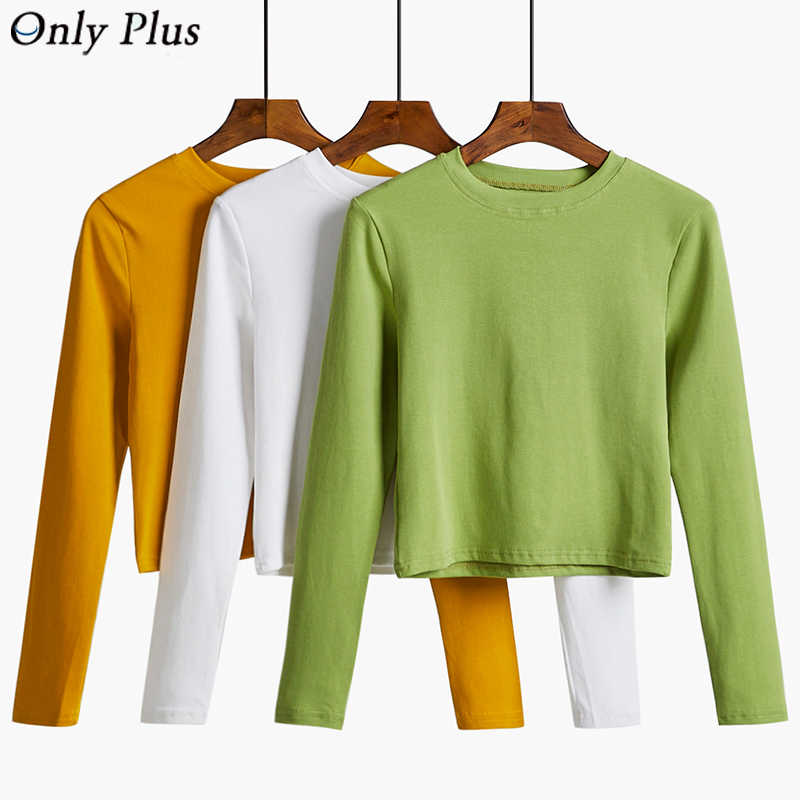 ONLY PLUS Spring Autumn Long Sleeve Cotton T Shirt Women Loose Solid Tee Shirt Female O-Neck T-Shirt Casual Sweet Mutli Color