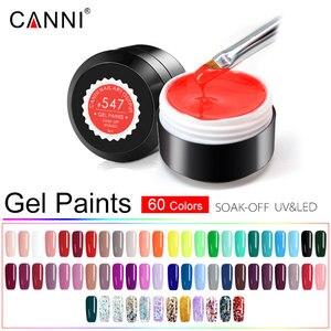 Image 1 - 60pcs/Lot CANNI Paint Gel Fast Dry Pure Glitter Colors Gel Lacquer Varnish 5ml Plastic Jar UV LED Nail Art Painting Gel